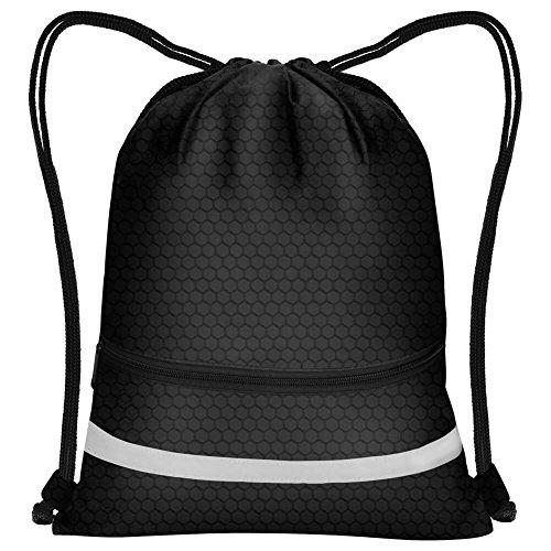 PAXCOO Waterproof Cinch Sack Drawstring Backpack Pocket String Sinch Tote Nap Bag Bulk for Gym