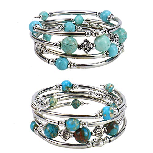 Monrocco Set of 2 Beaded Pearl Bangle Wrap Bracelet, Bohemian Multilayer Charm Bracelet with Thick Metal Beads, Gift for Women and Girls