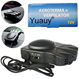 Yuauy Black Car Vehicle Heater 2 in1 Portable 30 Seconds Fast Heating Quickly Defrosts Defogger 12V 150W Auto Ceramic Heater Cooling Fan 3-Outlet Plug In Cig Lighter Demister