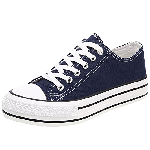 wealsex Sneakers Basses Femme Baskets Toile Bleu