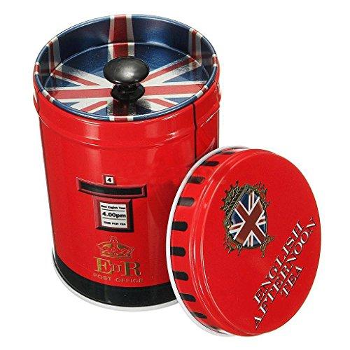 MONOMONO-Xmas Retro Metal Double Cover Tea Storage Tin Jar Box Case Candy Coffee Mailbox