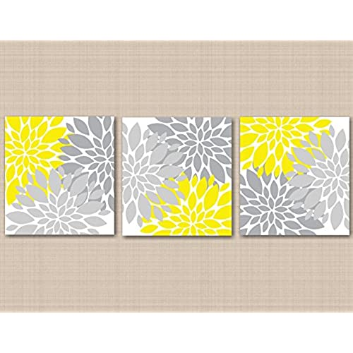 Yellow Gray Floral Wall Art Yellow Gray Bedroom Décor Floral Home Décor  Bathroom Dahlia Flowers Nursery Wall Art 12x12 UNFRAMED Set Of 3 PRINTS  (NOT CANVAS) ...