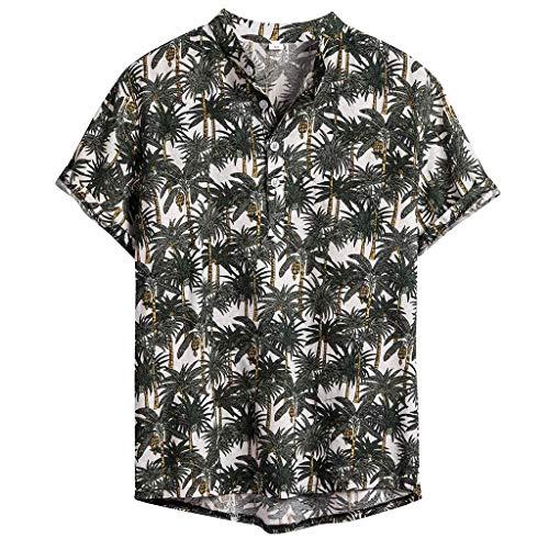 [해외]남성 헨리 셔츠 하와이 민족 인쇄 반 소매 캐주얼 면 린넨 느슨한 탑 블라우스 / Men`s Henley Shirts Hawaiian Ethnic Printing Short Sleeve Casual Cotton Linen Loose Tops Blouse