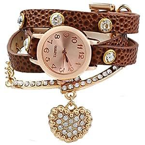 Leopard Shop Reloj Mujer Vintage de piel de leopardo Wrap pulsera con el corazón colgante de