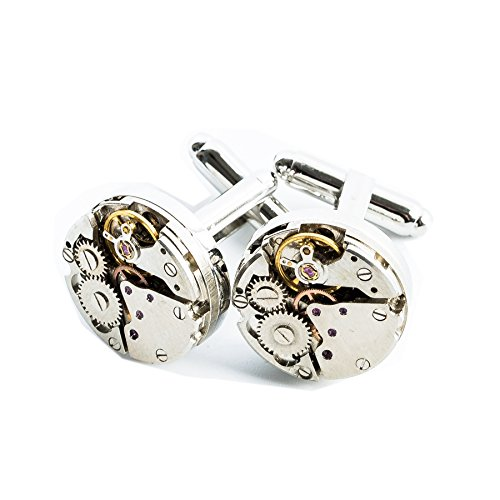 RXBC2011 Men's Watch Mechanical Movement Steampunk French Cufflinks in Presentation Gift (Mechanical Watch Cufflinks)