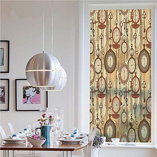 - 3D Window Films Privacy Film Static Decorative Film,Retro Style Old Nostalgic Watches Feathers and Keys 1920s Bohemian Art Prints(23