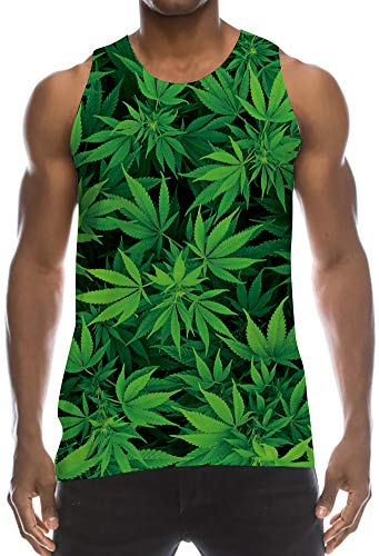 TUONROAD Mens Graphic Prints Tanks Top Sleeveless Muscle T-Shirts Crewneck Bright Vivid Colored Mint Green Black Leaves Lightweight Stringer Jersey Tank for Summer Sports Beach Colleage School