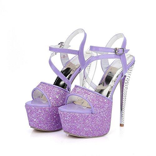 Amoonyfashion Dames Spikes Stilettos Solide Gesp Open Teen Sandalen Paars