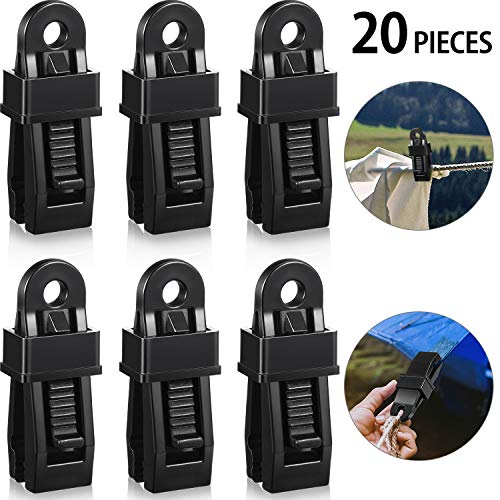 20 Pieces Crocodile Mouth Tarp Clips Multipurpose Secures Clamp with Strong Lock Grip, Clamp Trap Clip Camping Clamp Clip Tighten Lock Grip Tent Snap for Outdoor Camping,Tent, Awning, Banner and Cover