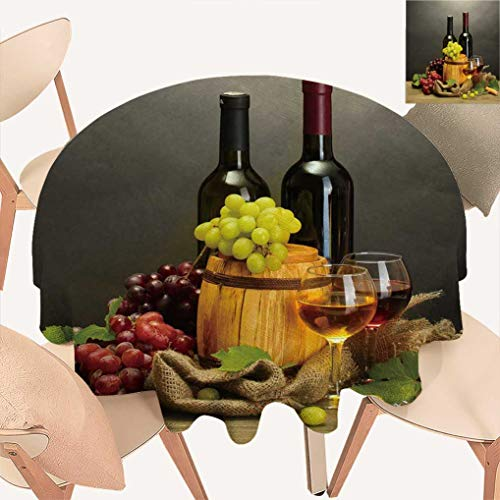 (Nansaprint Amazing Winery Decor Round Tablecloths, Red and White Wine Barrels Bottles Glasses Grapes on a Wooden Table with Grey Background Fabric Table Cloth for Dining Room Kitchen, 36