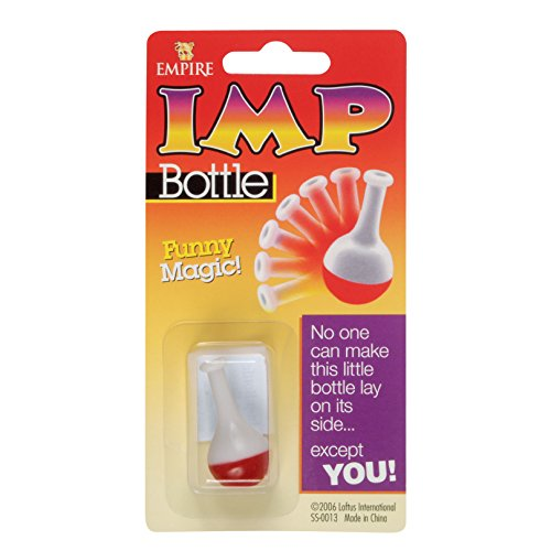 Loftus Imp Bottle Won't Fall Over Easy Magic Trick Set, White Red -
