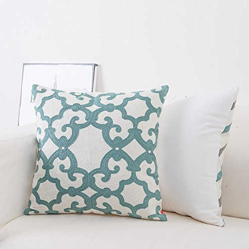 baibu Cotton Teal Embroidery Pattern Decor Throw Pillow ...