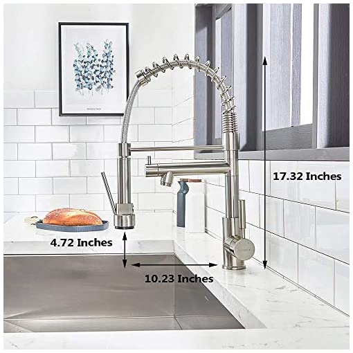 Farmhouse Kitchen VCCUCINE Contemporary Kitchen Faucet, Solid Brass Single Lever High Arch 2 Spouts Pull Out Sprayer Brushed Nickel… farmhouse sink faucets