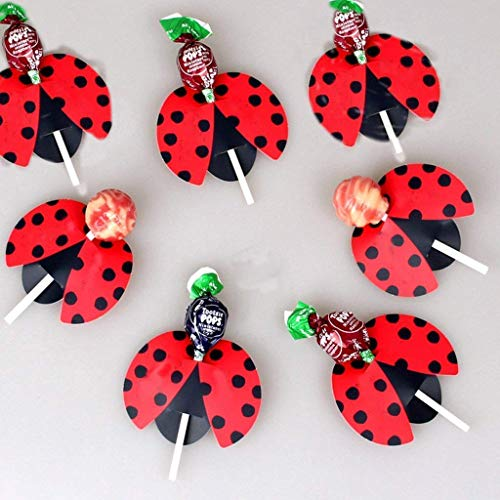 Birthday Party Lollipop - Ladybird Lollipops Cards,Super Cute Insect Candy Lollipop Perfect for Baby Shower, Wedding and Birthday Party Decoration-(Approx.50PCS)
