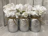 Cheap Painted Mason Jar Decor Set of 3 | Metallic SILVER | Rustic Wedding Vase Centerpiece | Farmhouse Decor | Painted Mason Jar | Burlap Bowtique | FREE Ship