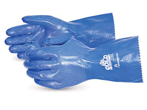 Superior N230FL North Sea Nitrile Coated Winter-Fleece Lined Glove, Work, Chemical Resistant, 12'' Length, 2X-Large, Blue (Pack of 1 Dozen)