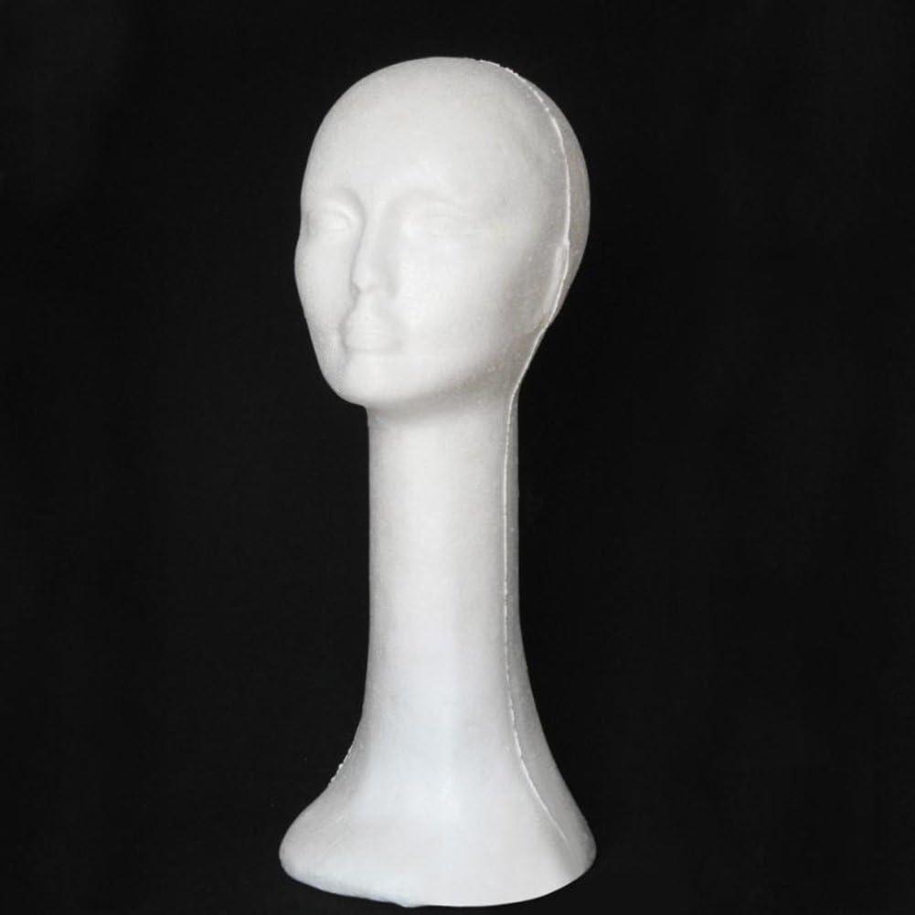Mrsalontek Foam Head Model Creative Foam Long Neck Mannequin Wig Hat Glasses Display Stand Rack White
