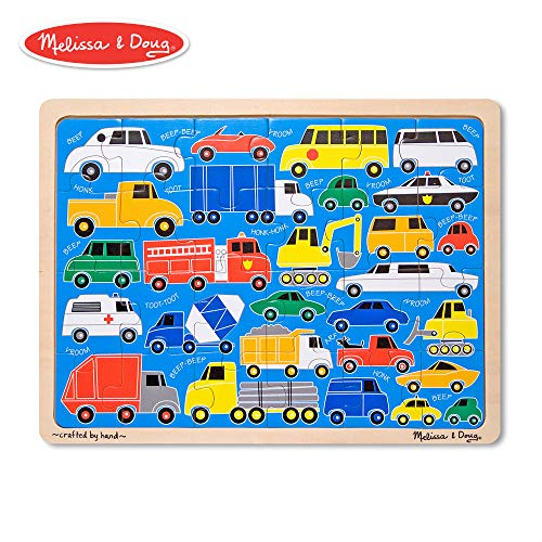 - Melissa & Doug Beep Beep Cars and Trucks Wooden Jigsaw Puzzle With Storage Tray (24 pcs)