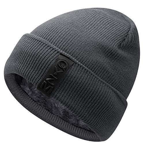 Hongtellor Knit Beanie Warm Thick Lined Hat Mens Winter Skull Cap Unisex Beanie Cap