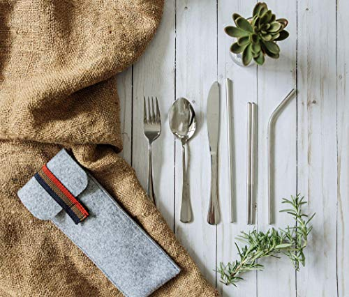 Elle Set - El'eat Reusable Portable Stainless Steel Flatware Set, Knife Fork Spoon Chopsticks Straws Silicone Tips, Travel Hiking Picnic Camping School Office Cutlery Set with Case, Lunch Box Utensils