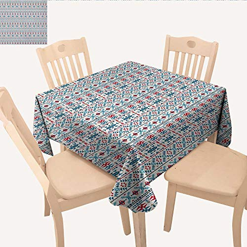Pool Tablecloth Triangles (longbuyer Ethnic Square Tablecloth Native Traditional Art with Mexican Cultural Origins Geometric Borders Triangles Table Cloths Spill Proof Multicolor W 60