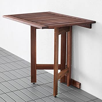 Captivating Ikea Applaro Wall Folding Drop Leaft Gateleg Table Brown Stained