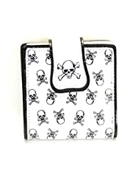 Skull Crossbone Print Bifold Punk Rockabilly Wallet White