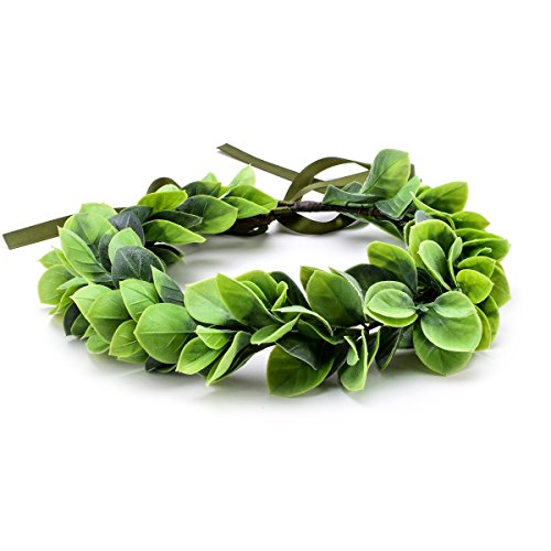 Wreath Headpiece - Floral Fall Christmas Flower Crown Vintage Nature Berries Festival Woodland Wedding Headband HD-02 (Green Leaf)
