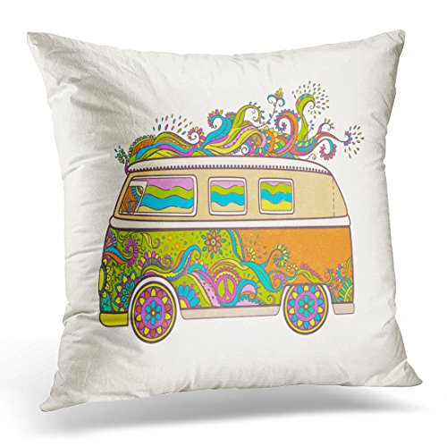 TOMKEYS Throw Pillow Cover Hippie Vintage Car Mini Van Love and Music with Hand Written Fonts Doodle and Hippy Color Retro 1960S 60S Decorative Pillow Case Home Decor Square 20x20 Inches Pillowcase (Van Hippy)