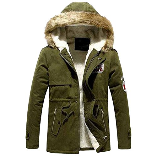 Stunner Men's Winter Fashion Warm Long Padded Jackets Hooded Overcoats CN Army Green XXL(495 Army - Stunners Asian