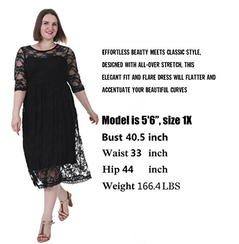 Sapphyra Womens Plus Size Dress Floral Lace Empire Waist Fit And