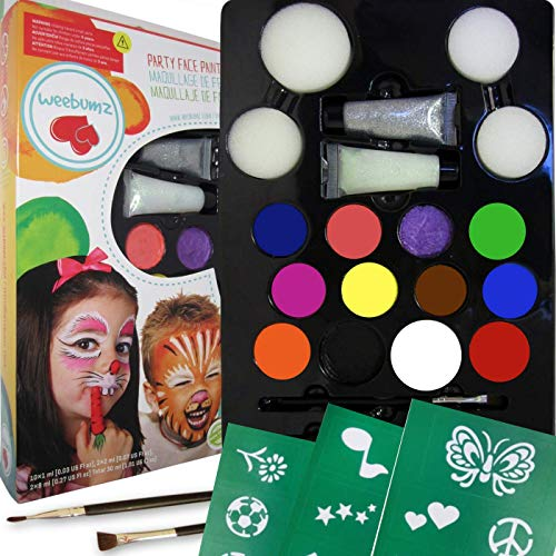 Weebumz Face Painting Top Color Party Pack for Kids. Quality Body Paint with Stencils, 4 Sponges, 2 Glitter Gels, 2 Brushes. Safe Non-Toxic Water Based+FREE Online Face Paints Guides & -