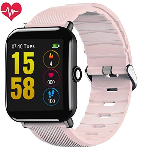 (OUKITEL W2 Fitness Smart Watch, Bluetooth Smart Watch Wristwatch with Pedometer Analysis Sleep Monitoring Heart Rate Monitor Tracker and Blood Pressure Monitoring Long Standby IP67 Smartwatch (Pink))