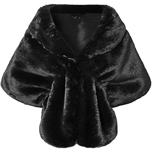 BABEYOND Womens Faux Fur Collar Shawl Faux Fur Scarf Wrap Evening Cape for Winter Coat (Black, Large)
