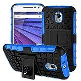 Moto G 3rd Generation Case,YiLin [Kickstand] Blue Armor Case [Shock-Absorption] Dual Layer Defender Protective Case Cover for Motorola Moto G3 (3rd Gen, 2015), Blue