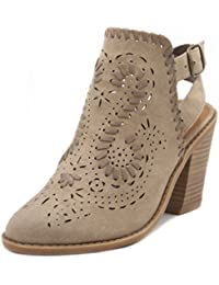 Women's Regal Ankle Boot Slingback Bootie with Cutout Wraparounds and Woven Open Ankle with Whipstitch
