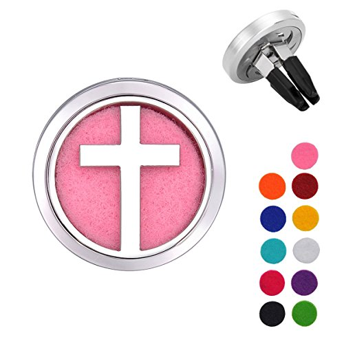 VALYRIA Cross Aromatherapy Car Essential Oil Diffuser Air Freshener Charm (Cross Dia Necklace)