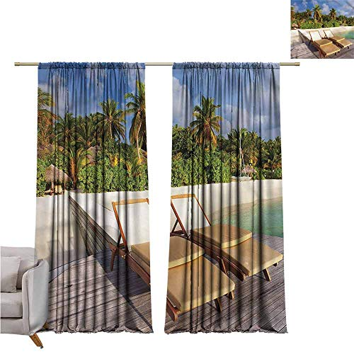(zojihouse Palm TreeKids Room Blackout Thermal Insulated Curtains, Deck Chairs on The Poch W120xL82)