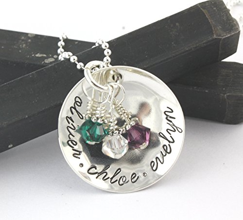 - Personalized Birthstone Sterling Silver Necklace - Handstamped Custom Gift For Mom