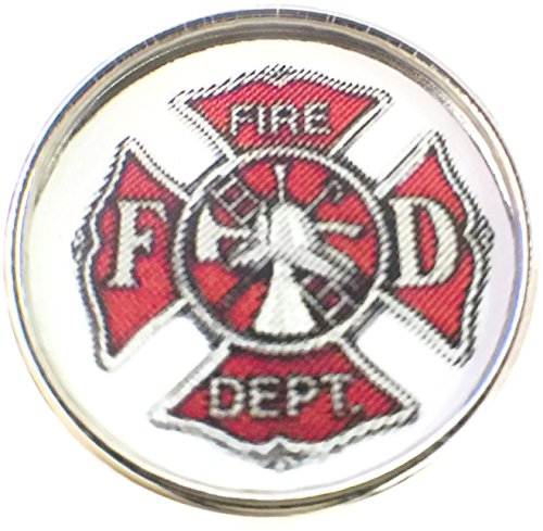 Thin Red Line Fire Department Badge Support for Firefighters 18MM - 20MM Snap Charm ()