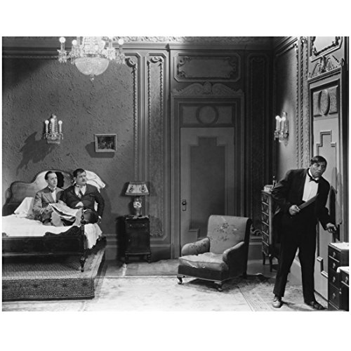 Laurel and Hardy in Bed Watching Butler at The Door 8 x 10 Photo