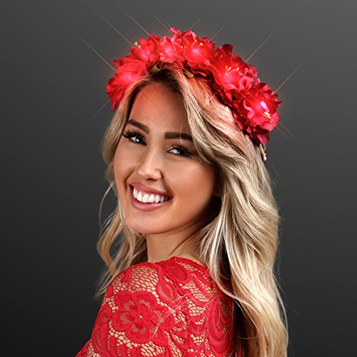 Light Up Red Flower Crown Headband for Festivals with Red LED Lights