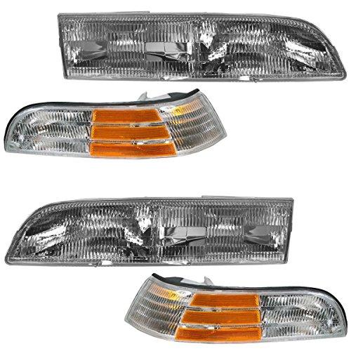 Headlight Headlamp Corner Light Lamp Kit Set of 4 for 92-97 Crown Victoria LX
