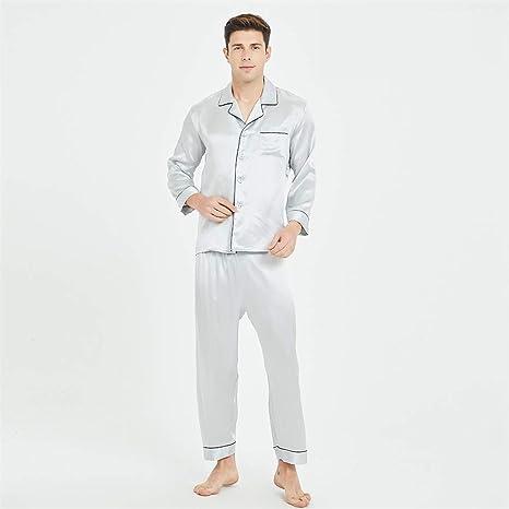 BUTTERFLYSILK 100 Pijamas de Seda Pura para Hombre, Conjunto ...
