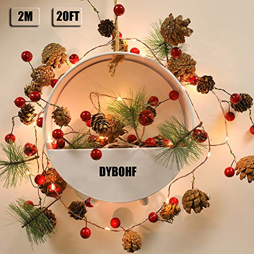 Christmas Lights, Fairy Lights, Decoration Pinecone Berries Indoor and Outdoor Christmas Tree Lights, Garland with Lights for Winter Holiday New Year Decor. Battery Powered (2M 20 Lights) (Pine Cone)