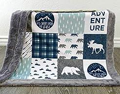 Moose Baby Blanket - Bear Baby Blanket -...
