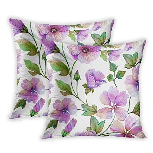 Sgvsdg Set of 2 Throw Pillow Cover Beautiful Lavatera Flowers Green Leaves Against White Floral Painting Painted Fabric Wallpaper 18 X 18 Inch Square Hidden Zipper Home Cushion Decorative -