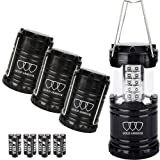 LED Camping Lantern - Gold Armour 4Pack LED Lantern Camping Lantern - Camping Equipment Camping Gear Camping Lights for Hiking, Emergency, Hurricanes, Outages, Storms, Camping Lanterns (Black)