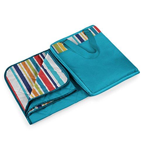 ONIVA - a Picnic Time Brand Vista Outdoor Picnic Blanket Tote XL, Aqua Blue with Multi-Stripe