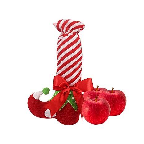 BESTOYARD 2 UNIDS Estilo Elfo de Navidad Largo Calcetines de Caramelo Regalos Bolsa Adornos de Navidad